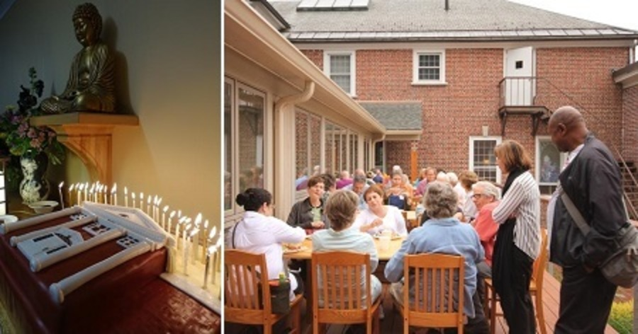 Cake and Retreatants on Dining Room Deck