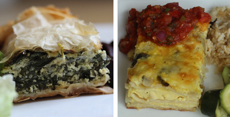 Spinach and Ricotta pie & chilequile