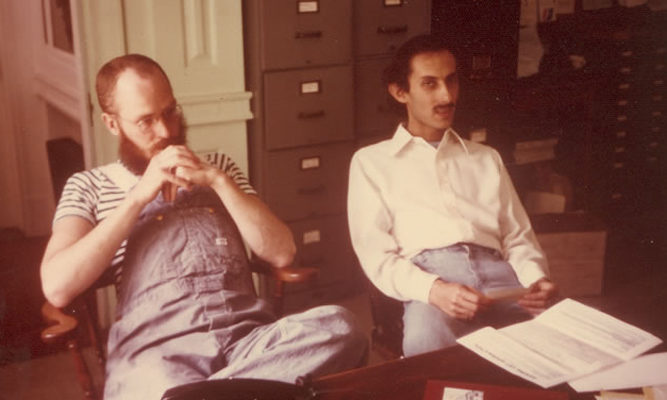Pondering the imponderable... Staff member Tom Sibold (L) with Jack Kornfield.