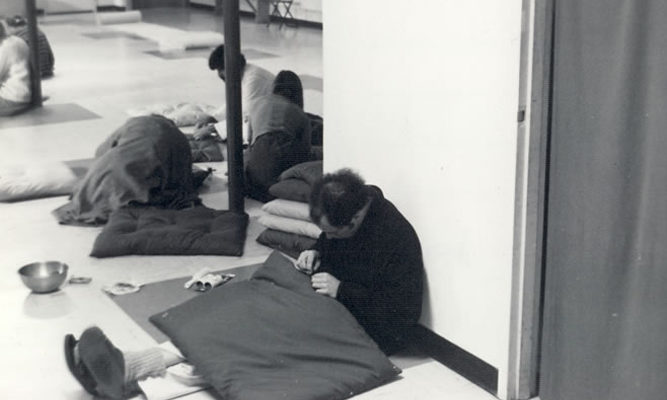 Staff sew meditation mats (known as zabutons) for the Meditation Hall, 1977.