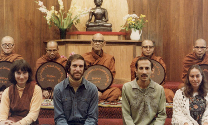In 1979, Burmese master Ven. Mahasi Sayadaw (back row center), held a teaching authorization ceremony with our founders.
