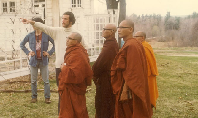 Joseph Goldstein gives Mahasi Sayadaw (2nd from left in robes) and his monks a tour of the IMS grounds.