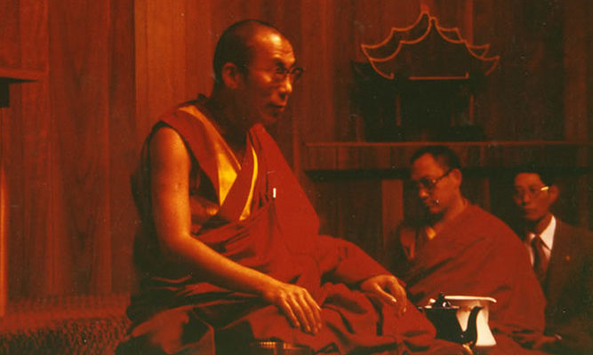 His Holiness the Dalai Lama gives a talk in the IMS meditation hall.