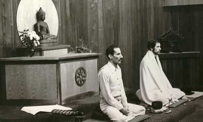 Jack Kornfield and Joseph Goldstein teaching in the meditation hall.