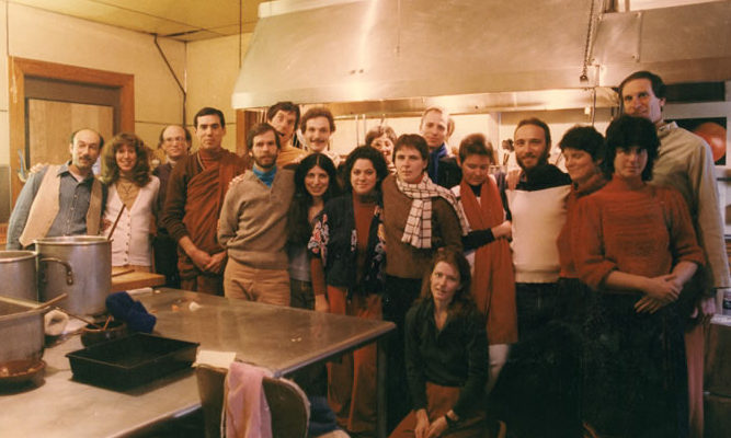 IMS staff, with Alan Clements in monastic robes, 1983.