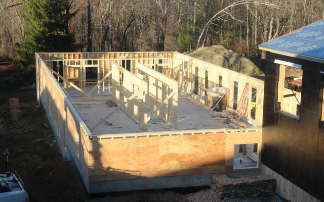 The framing for the first floor of the new Retreat Center dormitory, November 2012.