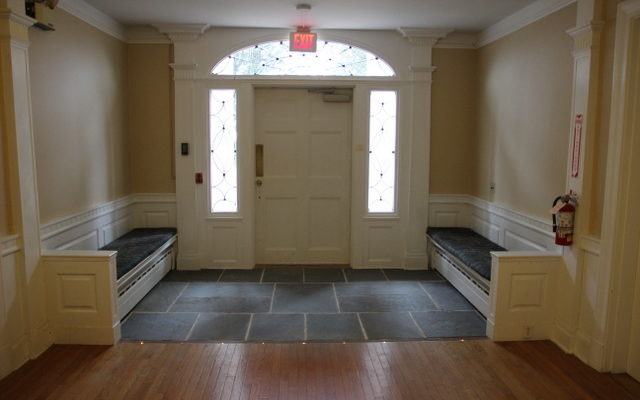 In the fall of 2013, work began on making the front entrance to the Retreat Center's main building fully accessible for anyone with mobility challenges. Here is the renovated foyer, December 2013.