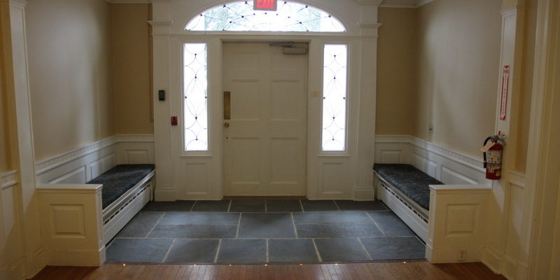 On arrival for a Retreat Center course, you'll be greeted here in the foyer. Our front entrance is fully accessible.