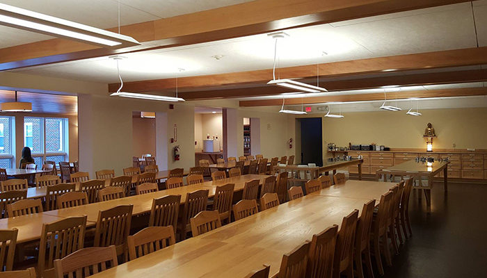 In late December 2015, improvements to the Retreat Center dining room were completed with the installation of ceiling fir trim and lighting, and new acoustical tiles to reduce noise.