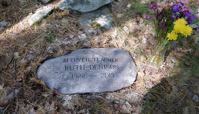 An engraved memorial stone has been placed along IMS's Memorial Wall, and some of Ruth's ashes now lie beneath it.
