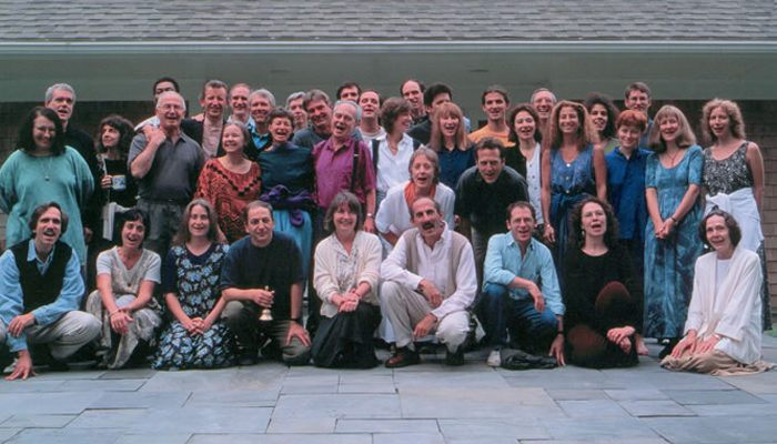 Vipassana teachers in the West gather together to meet and discuss relevant dharma topics every four years. Here they are shown at the Barre Center for Buddhist Studies in 1996.