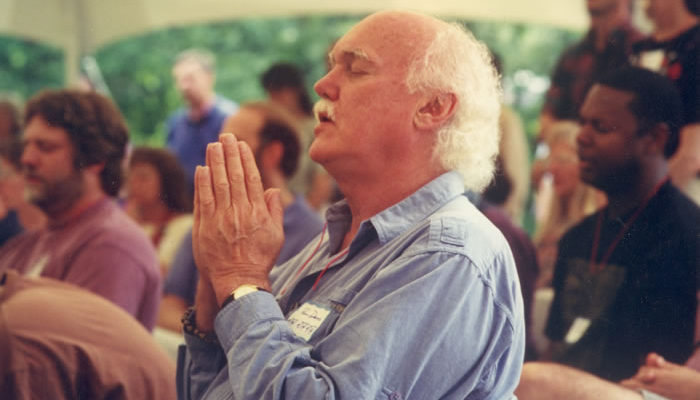 Ram Dass attends IMS's 20th anniversary celebration, 1996.