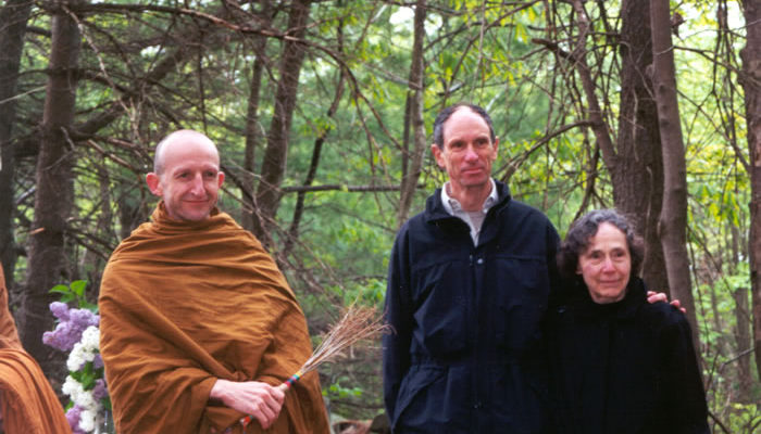 Ajahn Amaro, Joseph Goldstein and Sarah Doering at a blessing ceremony, May 16, 2001 on the site of the Forest Refuge.