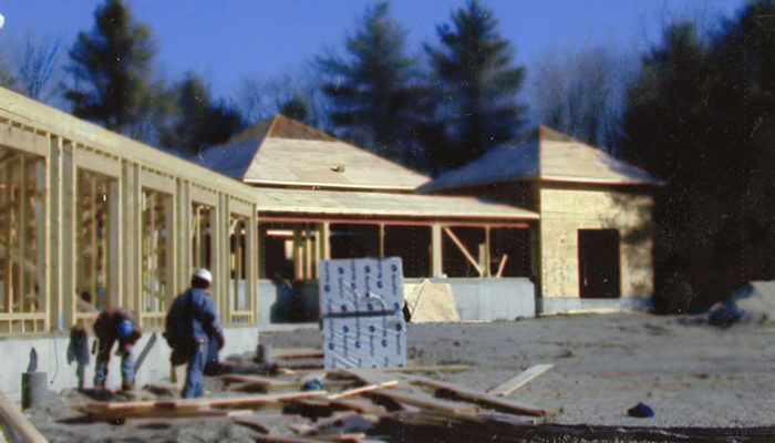 Under construction: the Forest Refuge meditation hall, 2002.