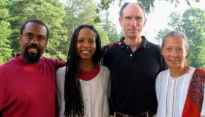 Teachers of the 2005 People of Color Retreat. (L to R): Russell Brown, Rachel Bagby, Joseph Goldstein and Gina Sharpe.