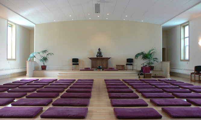 The Retreat Center meditation hall is a light, open space that encourages tranquility and mindfulness.