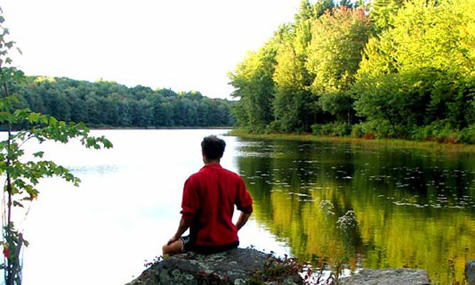 A moment of quiet reflection at nearby Gaston Pond.
