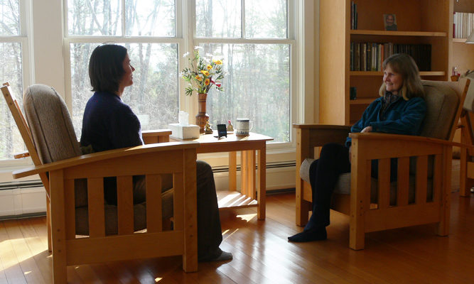 Interviews with Forest Refuge teachers about meditation take place in the Forest Refuge counsel house.