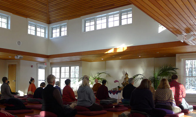 Sitting in the Forest Refuge meditation hall.