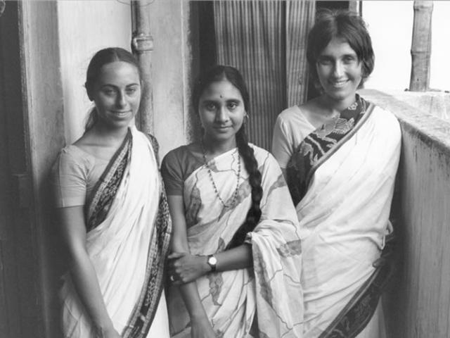 1 04 Sharon Salzberg (R) in India, 1972 with Jacqueline Mandell (L) and Dipa Barua, daughter of Dipa Ma.