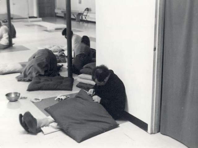 1 12 Staff sew meditation mats (known as zabutons) for the Meditation Hall, 1977.