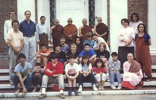 2 02 The first IMS Young Adult Retreat, taught by Sayadaw U Pandita (center, back row) in 1989.