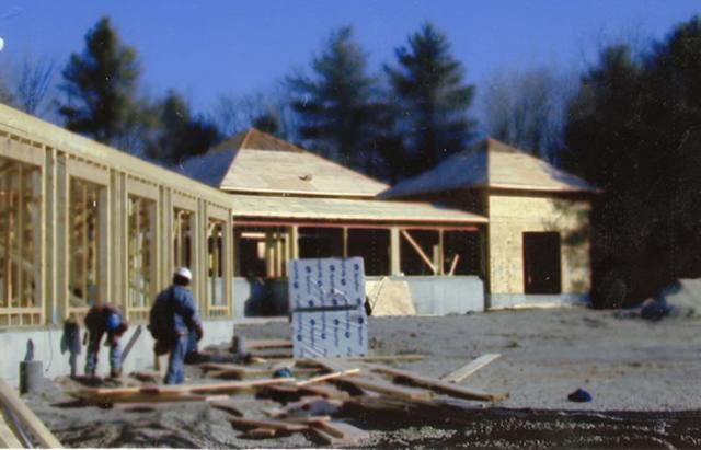 3 06 Under construction: the Forest Refuge meditation hall, 2002.