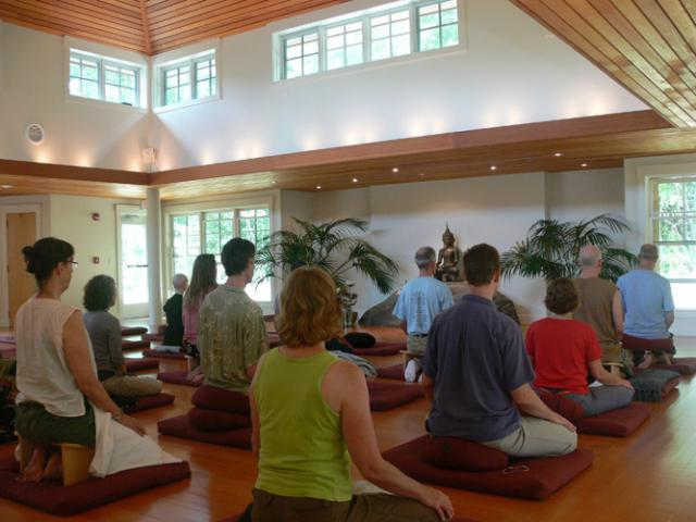 T16 Sitting in the Forest Refuge meditation hall.