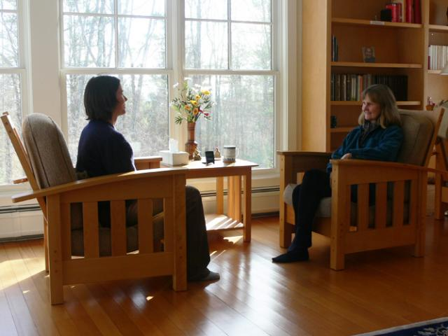 T19 Interviews with Forest Refuge teachers about meditation take place in the Forest Refuge counsel house.